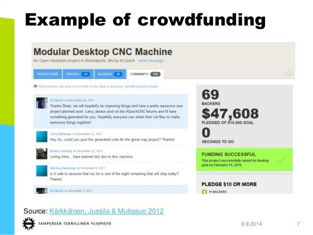 Example of crowdfunding  8.9.2014 7  Source: Kärkkäinen, Jussila & Multasuo 2012