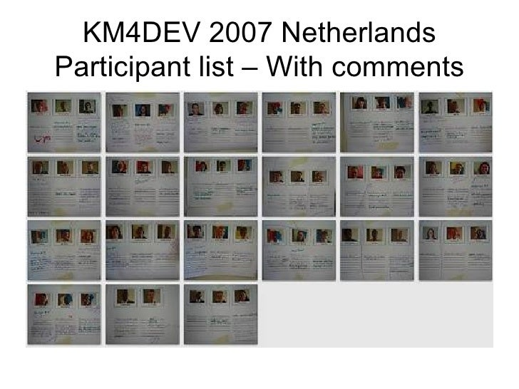 KM4DEV 2007 Netherlands Participant list – With comments