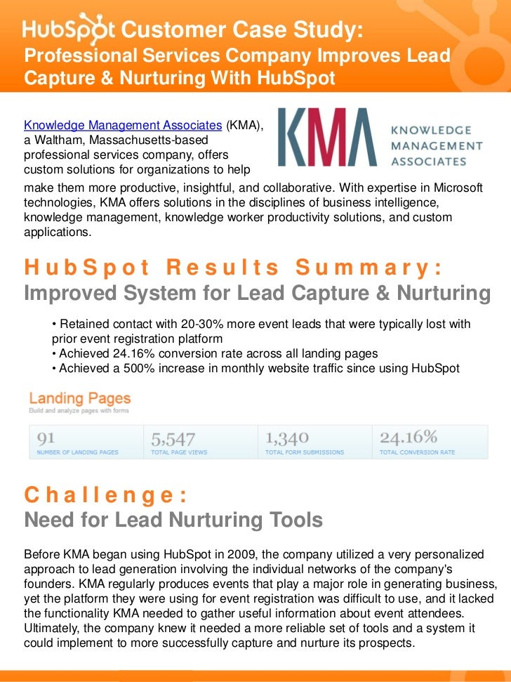 Customer Case Study:Professional Services Company Improves LeadCapture & Nurturing With HubSpotKnowledge Management Associ...