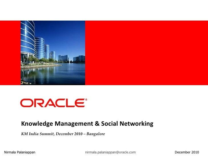Knowledge Management & Social Networking KM India Summit, December 2010 – Bangalore Nirmala Palaniappan [email_address]   ...