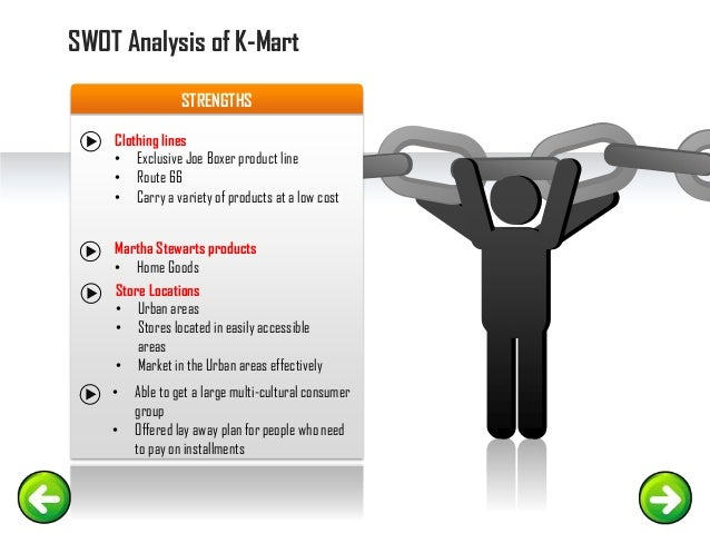swot of kmart Swot analysis of kmart gives insights into the internal and external  environments of this company find out more about this in the following.