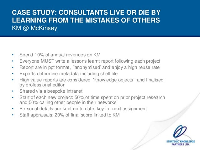 case study mckinsey company managing knowledge and learning