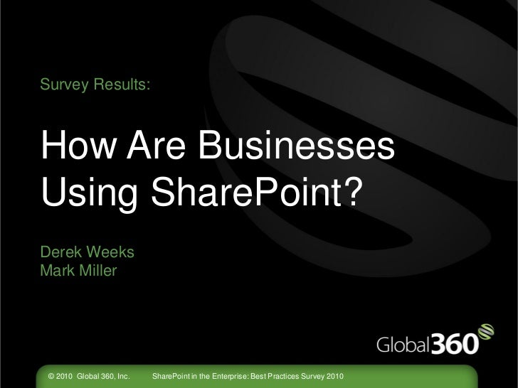 Survey Results:How Are BusinessesUsing SharePoint?Derek WeeksMark Miller © 2010 Global 360, Inc.   SharePoint in the Enter...
