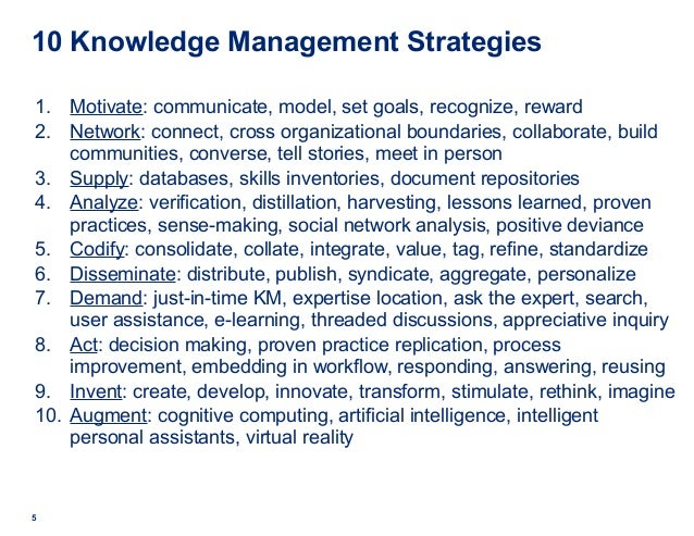 5 10 Knowledge Management Strategies 1. Motivate: communicate, model, set goals, recognize, reward 2. Network: connect, cr...
