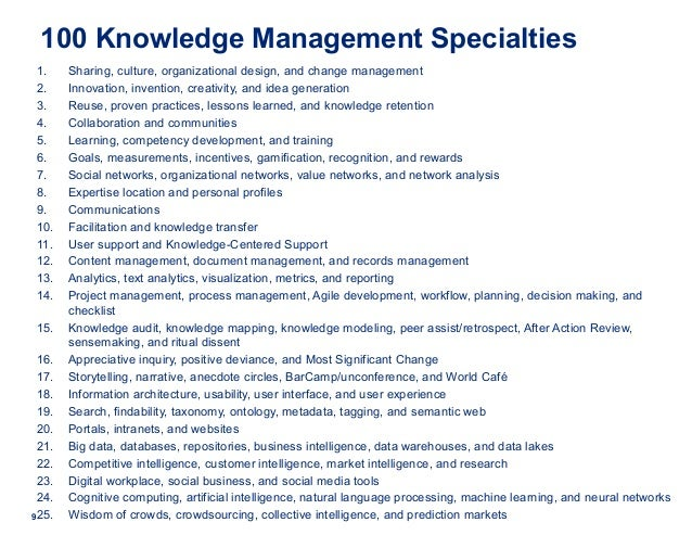 100 Knowledge Management Specialties 1. Sharing, culture, organizational design, and change management 2. Innovation, inve...