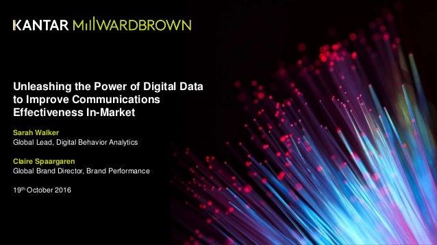 Unleashing the Power of Digital Data to Improve Communications Effectiveness In-Market Sarah Walker Global Lead, Digital B...