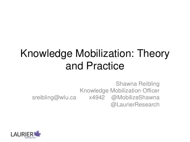 Knowledge Mobilization: Theory and Practice Shawna Reibling Knowledge Mobilization Officer sreibling@wlu.ca x4942 @Mobiliz...