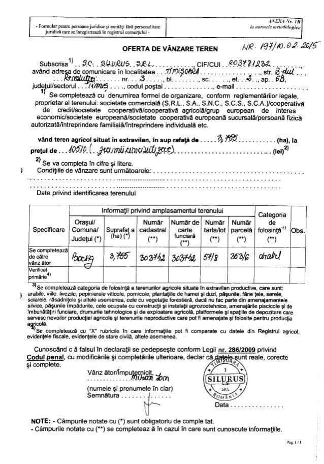 3  ts . - iv'  4/VEX. -1 Nr.  113 la mrrmele memdologice  - Formular pentru persoanejuridice si entitati flirfi personalitat...