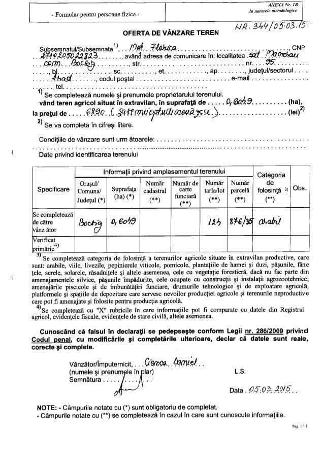 ANEX4 NI'.  1 B la uarmele rrreratlologice  / /IQ- 344 05703. f  - Formular pentru persoane fizice -  OFERTA DE VANZARE TER...