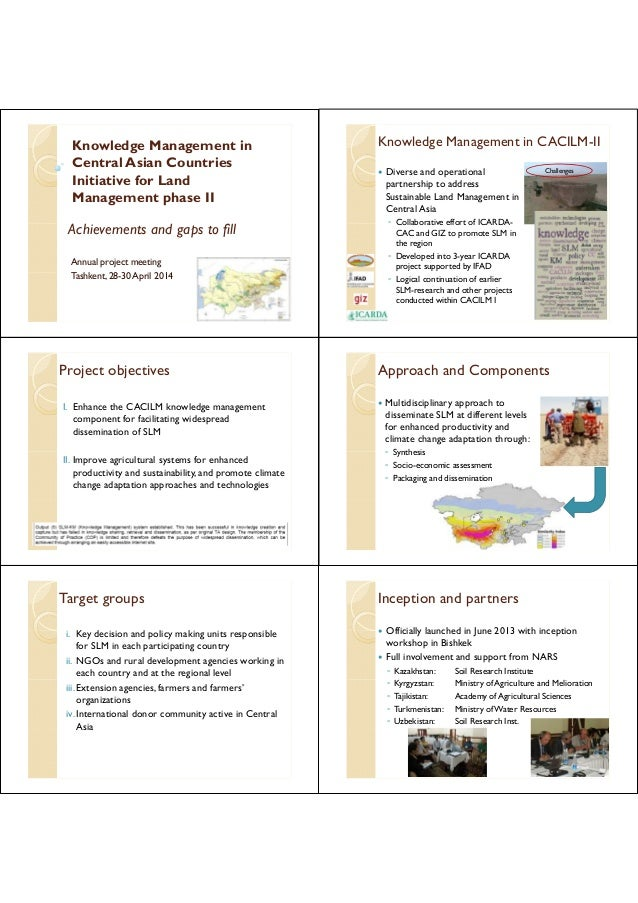 Knowledge Management in  Central Asian Countries  Initiative for Land  Management phase II  Achievements and gaps to fill ...