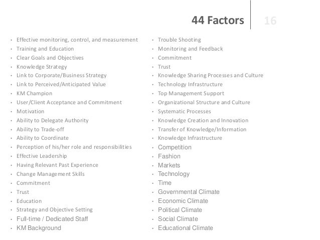 44 Factors • •  • • • • • •  • • • • • •  • • • • • •  • •  Effective monitoring, control, and measurement Training and Ed...