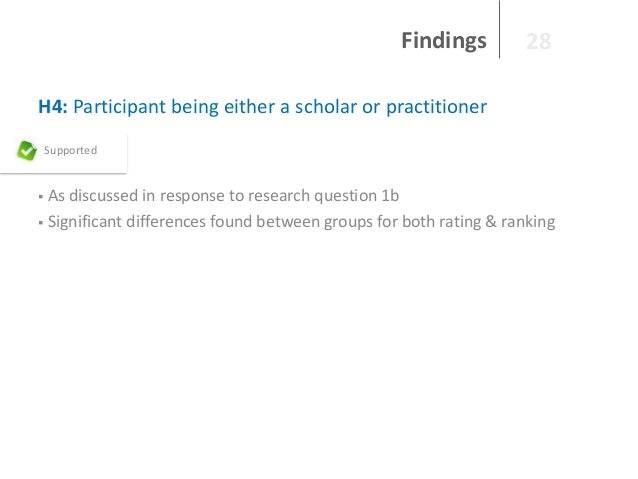 Findings  28  H4: Participant being either a scholar or practitioner Supported  As discussed in response to research quest...