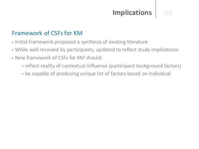 Implications  34  Framework of CSFs for KM Initial framework proposed a synthesis of existing literature  While well rece...