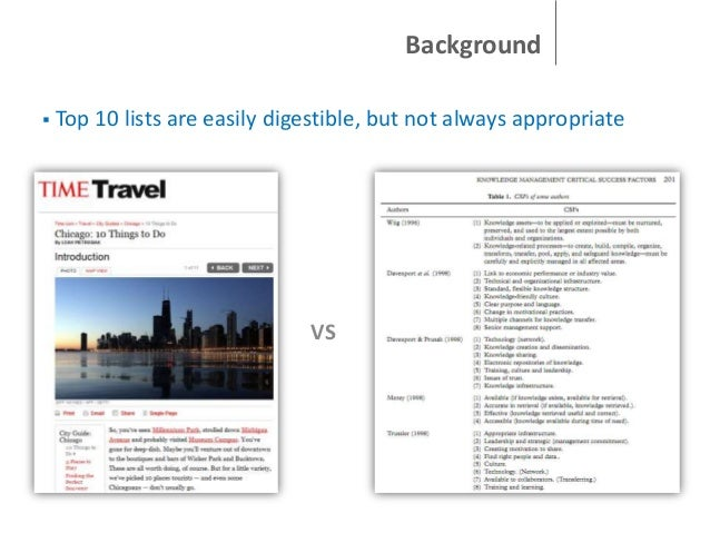 Background   Top 10 lists are easily digestible, but not always appropriate  VS