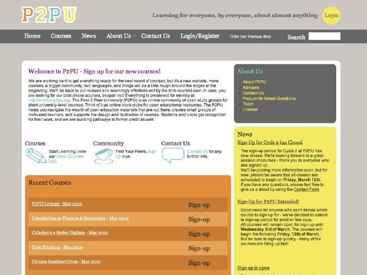 Courses - March 2010    Introduction to Finance & Economics Cidadania e Redes Digitais Civic Hacking Climate Resilient Cit...