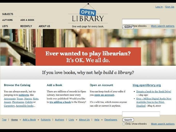 OpenLib frontpage