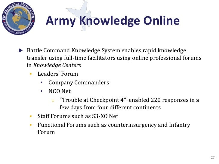 Knowledge management in the department of defense for Army continuity book template