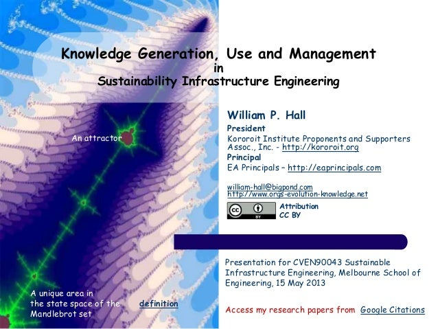 Knowledge Generation, Use and Management in Sustainability Infrastructure Engineering William P. Hall President Kororoit I...
