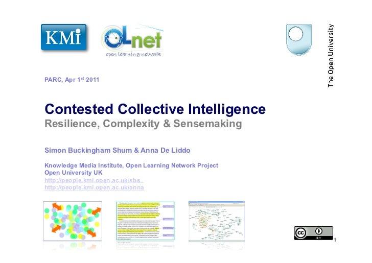 PARC, Apr 1st 2011Contested Collective IntelligenceResilience, Complexity & SensemakingSimon Buckingham Shum & Anna De Lid...