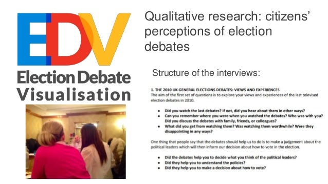 Qualitative research: citizens' perceptions of election debates Structure of the interviews: