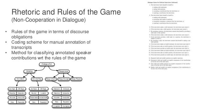 Rhetoric and Rules of the Game (Non-Cooperation in Dialogue) Dialogue Transcript Annotation (Segments, Dialogue Act Functi...