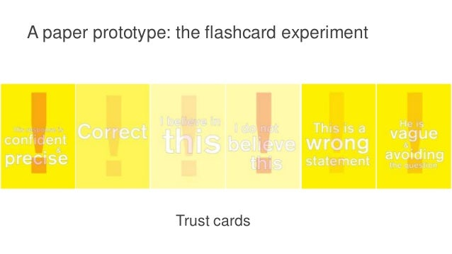 A paper prototype: the flashcard experiment Information need cards