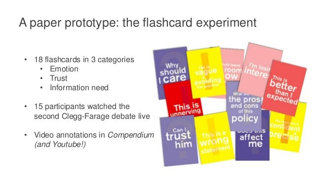 A paper prototype: the flashcard experiment Compendium Annotations • Video mapping with modifications • Annotations export...