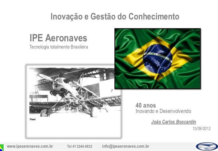 Inovação e Gestão do Conhecimento           IPE Aeronaves           Tecnologia totalmente Brasileira                      ...