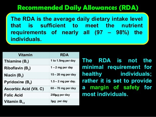 8 where might you find dietary recommendations what are the recommended dietary allowances rda what  Recommended daily allowance (rda) for all recommended dietary nutrients and dietary vitamin intake includes definitive daily intake chart and free rda calculator.