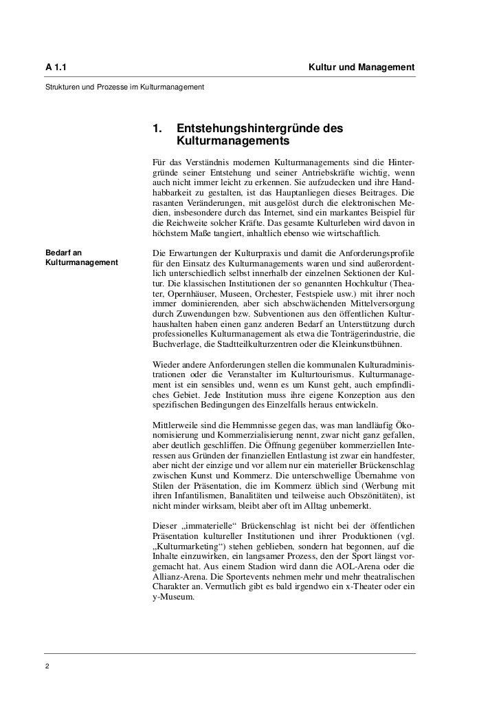 A 1.1                                                                  Kultur und ManagementStrukturen und Prozesse im Kul...