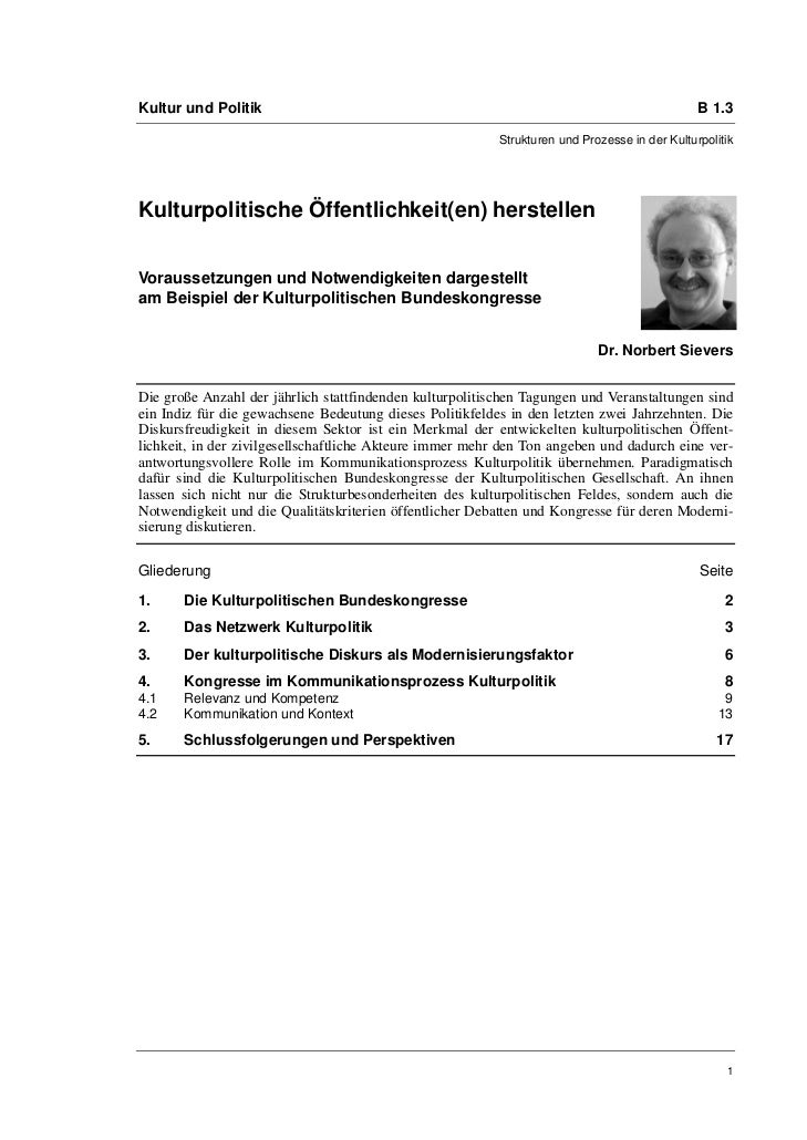 Kultur und Politik                                                                             B 1.3                      ...