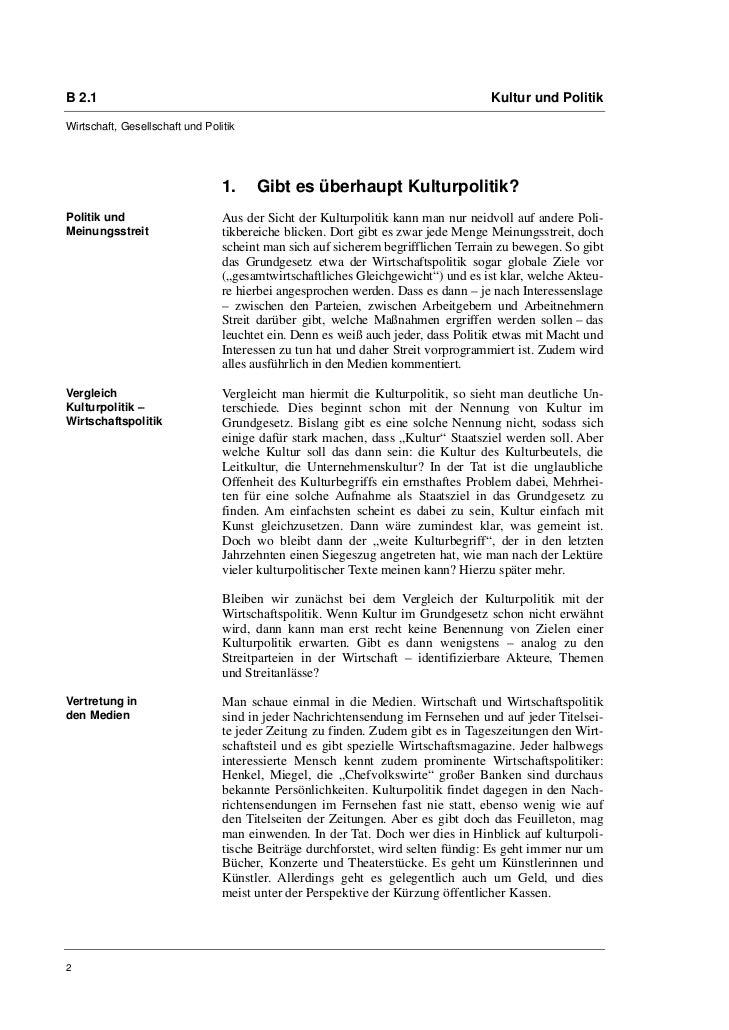 B 2.1                                                                              Kultur und PolitikWirtschaft, Gesellsch...