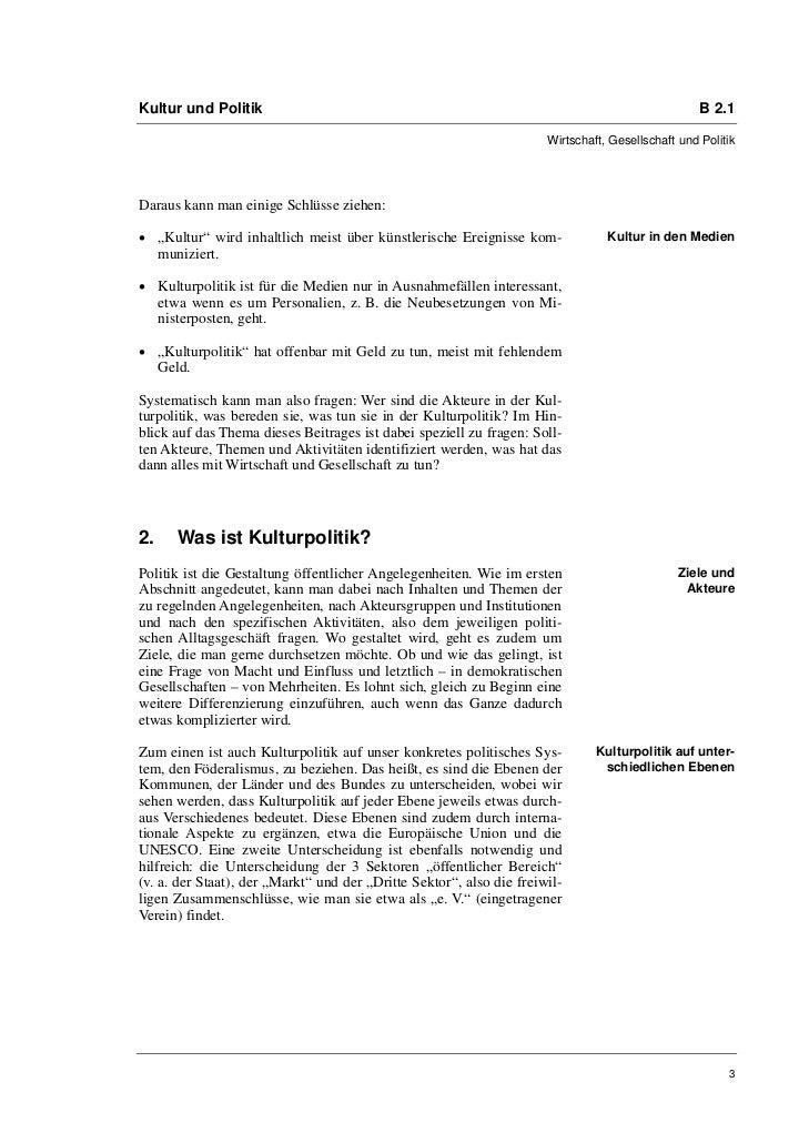 Kultur und Politik                                                                                 B 2.1                  ...