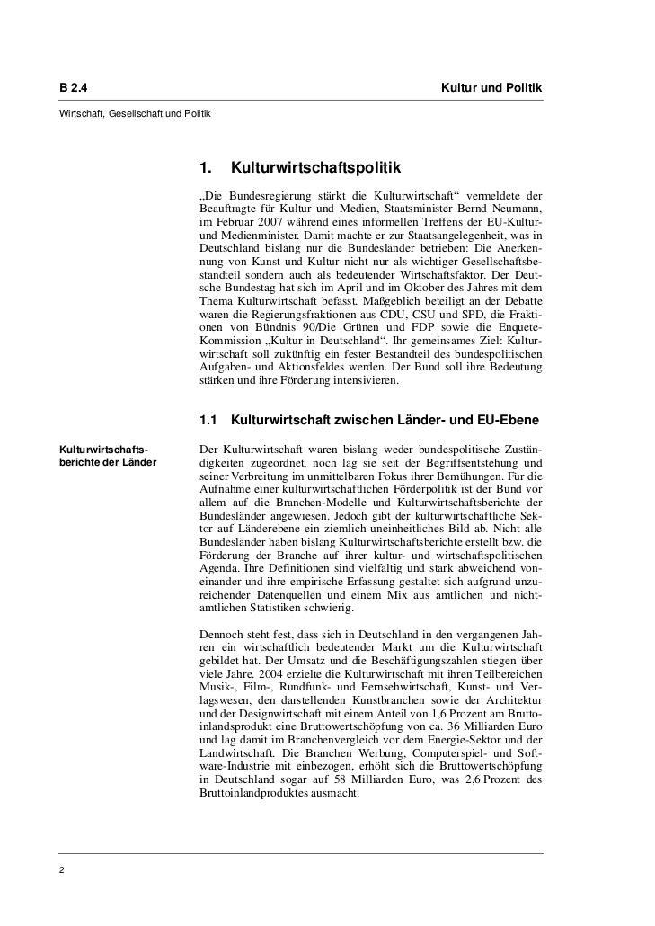 B 2.4                                                                              Kultur und PolitikWirtschaft, Gesellsch...