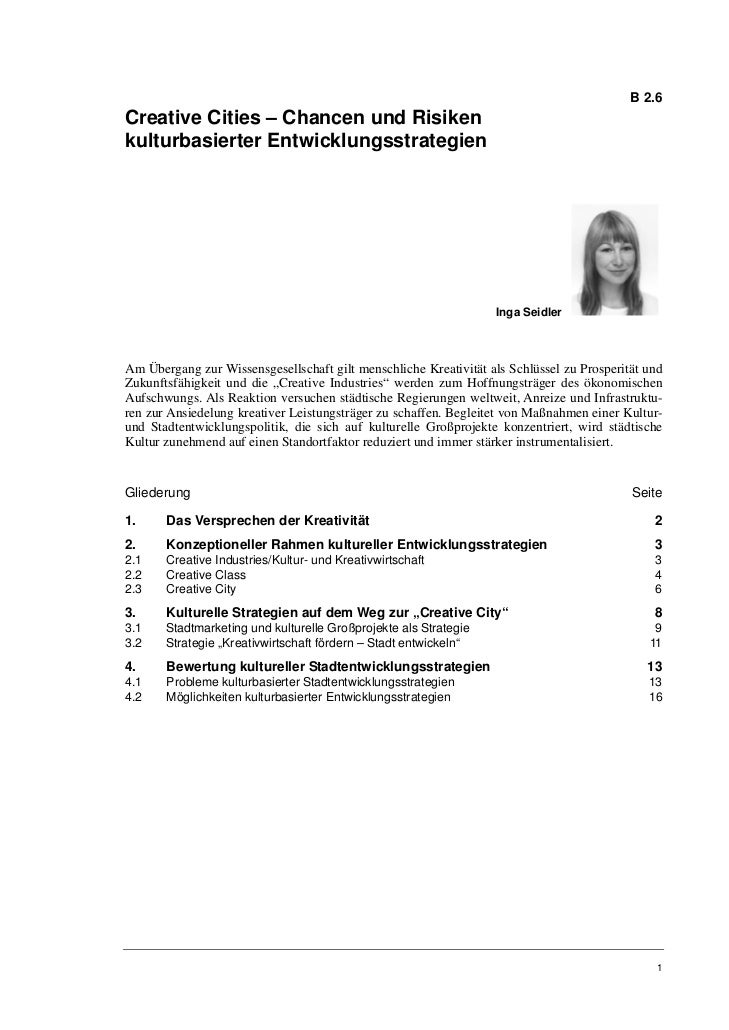B 2.6Creative Cities – Chancen und Risikenkulturbasierter Entwicklungsstrategien                                          ...