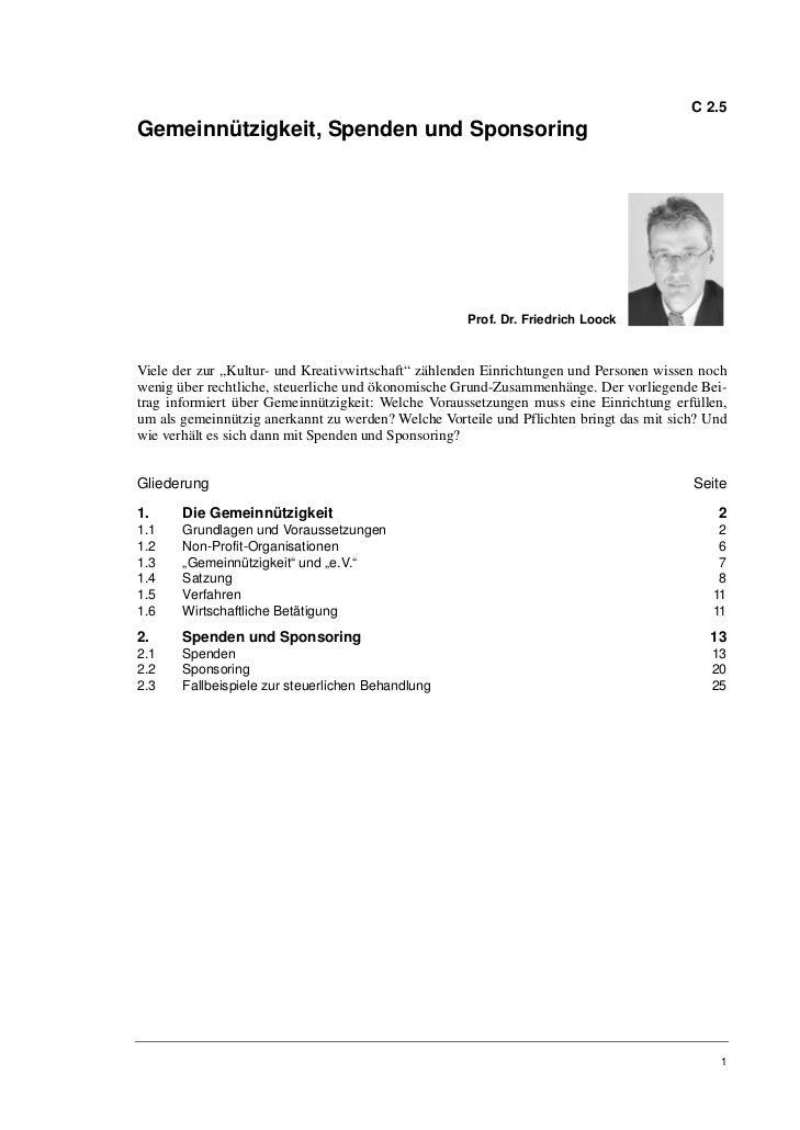 C 2.5Gemeinnützigkeit, Spenden und Sponsoring                                                     Prof. Dr. Friedrich Looc...