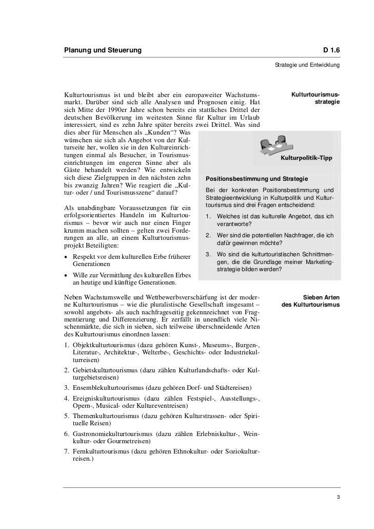 Dr. Christian Antz: Kulturtourismus. Empfehlungen für einen langfristigen Erfolg Slide 3
