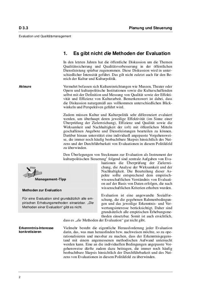 D 3.3                                                                     Planung und SteuerungEvaluation und Qualitätsman...