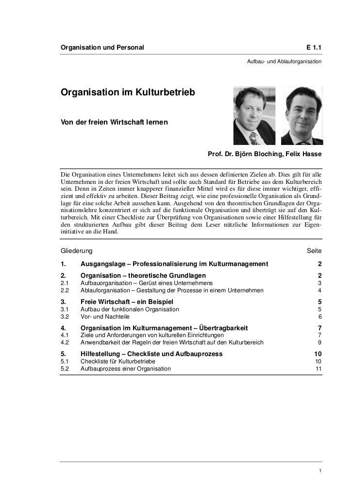 Organisation und Personal                                                                      E 1.1                      ...