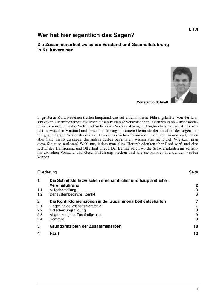 E 1.4Wer hat hier eigentlich das Sagen?Die Zusammenarbeit zwischen Vorstand und Geschäftsführungin Kulturvereinen         ...