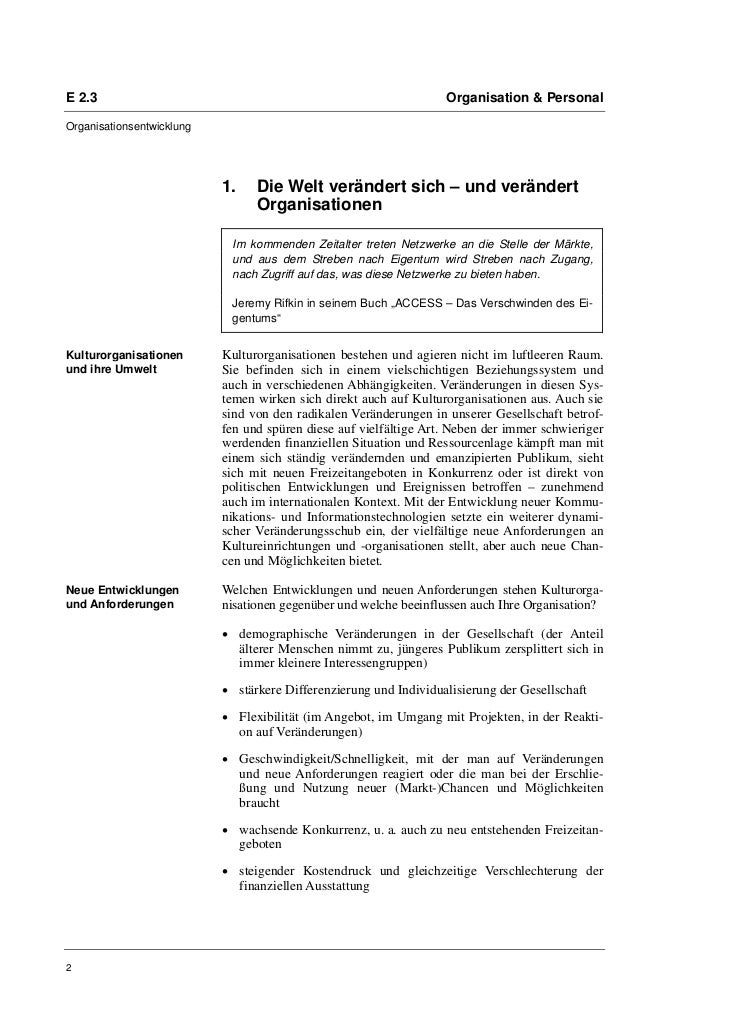 E 2.3                                                              Organisation & PersonalOrganisationsentwicklung        ...