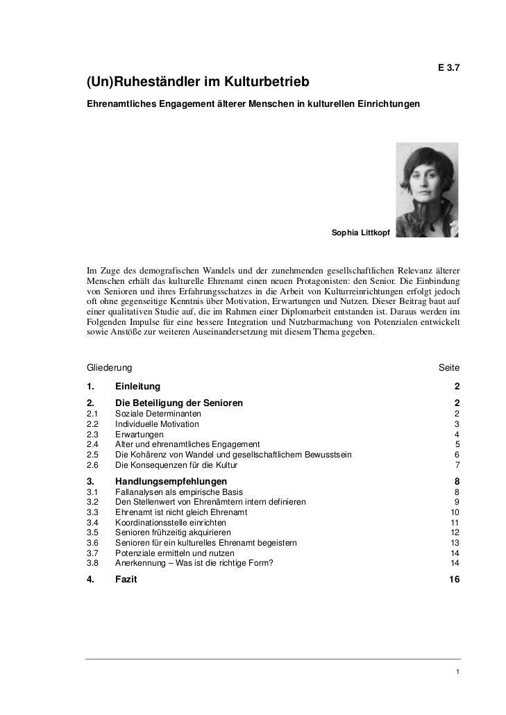 E 3.7(Un)Ruheständler im KulturbetriebEhrenamtliches Engagement älterer Menschen in kulturellen Einrichtungen             ...