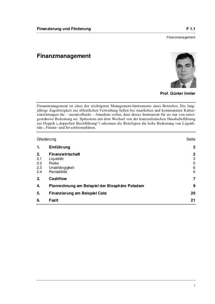Finanzierung und Förderung                                                                 F 1.1                          ...
