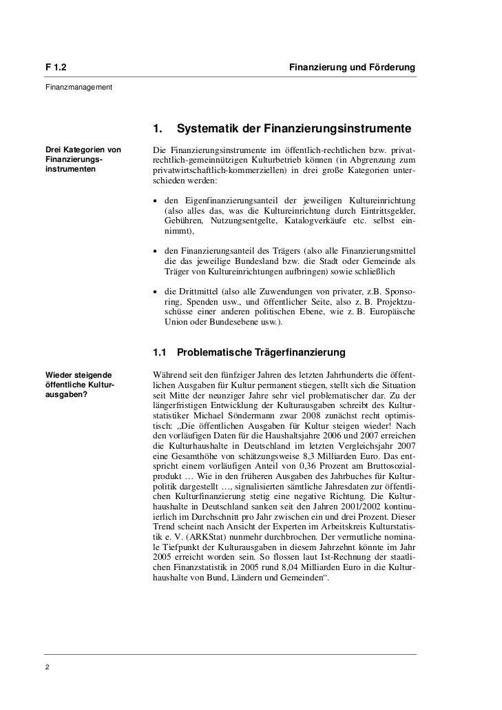 F 1.2                                                      Finanzierung und FörderungFinanzmanagement                     ...