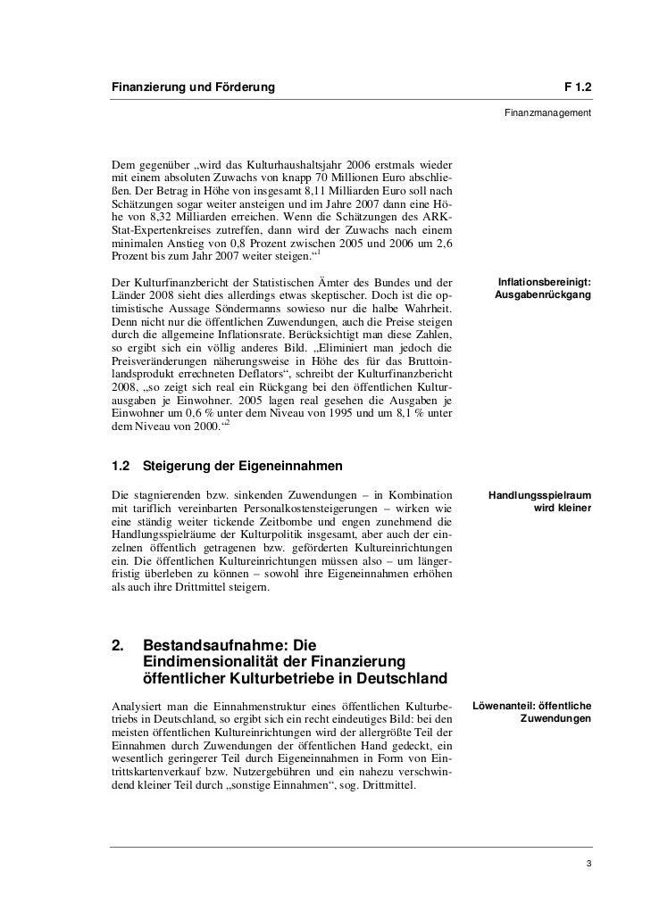 Finanzierung und Förderung                                                                    F 1.2                       ...