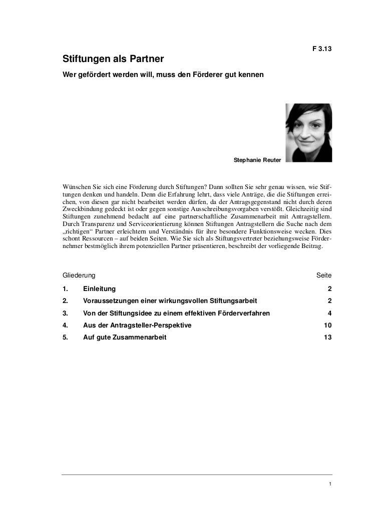 F 3.13Stiftungen als PartnerWer gefördert werden will, muss den Förderer gut kennen                                       ...
