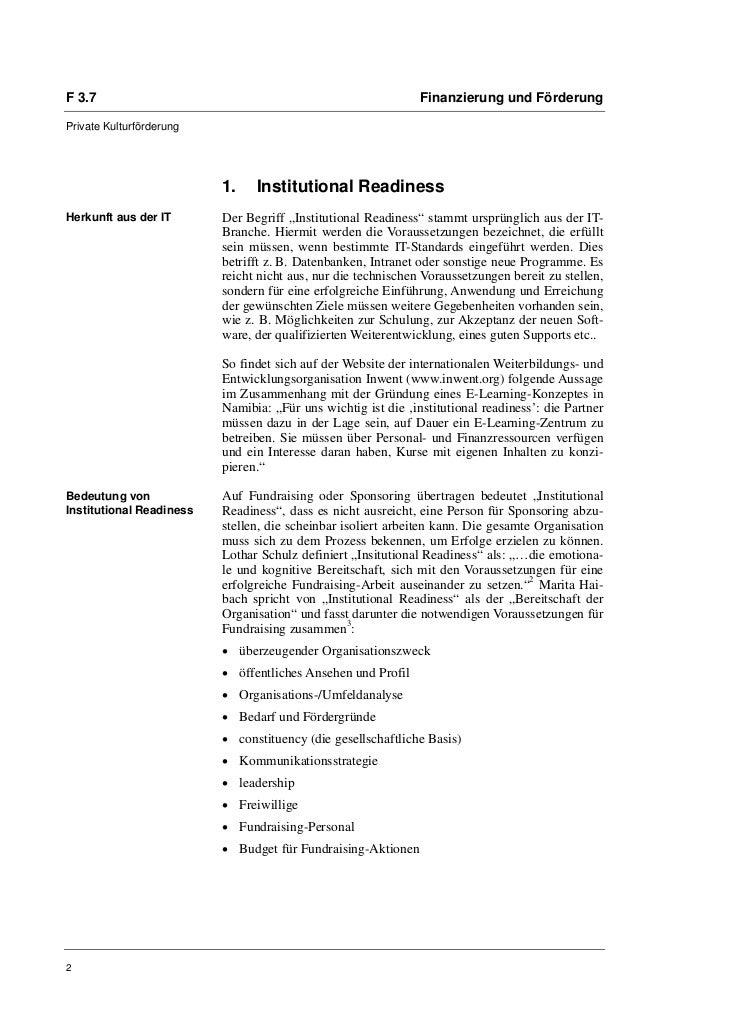Kerstin Schilling: Institutional Readiness. Interne Voraussetzungen für erfolgreiches Sponsoring und Fundraising Slide 2