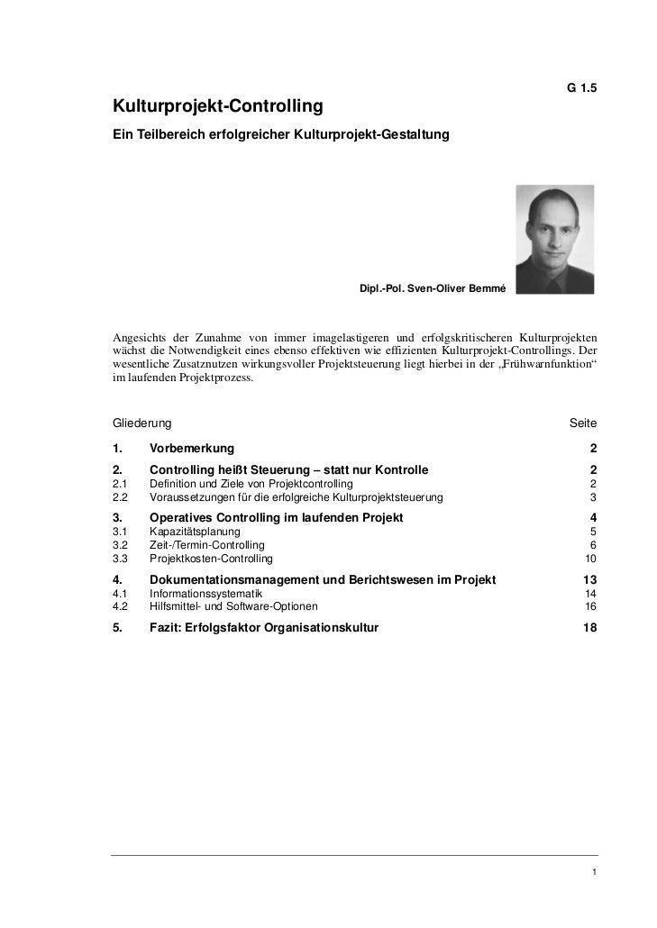 G 1.5Kulturprojekt-ControllingEin Teilbereich erfolgreicher Kulturprojekt-Gestaltung                                      ...