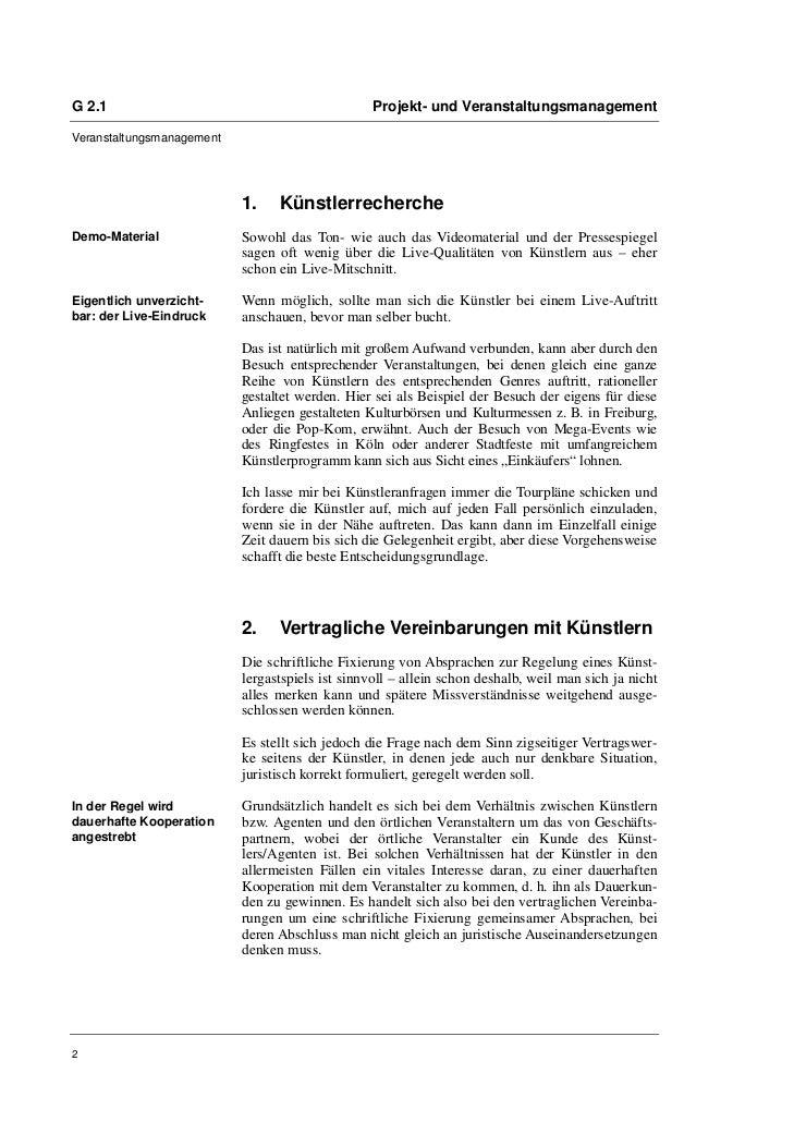 G 2.1                                             Projekt- und VeranstaltungsmanagementVeranstaltungsmanagement           ...