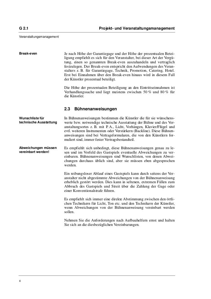 G 2.1                                            Projekt- und VeranstaltungsmanagementVeranstaltungsmanagementBreak-even  ...